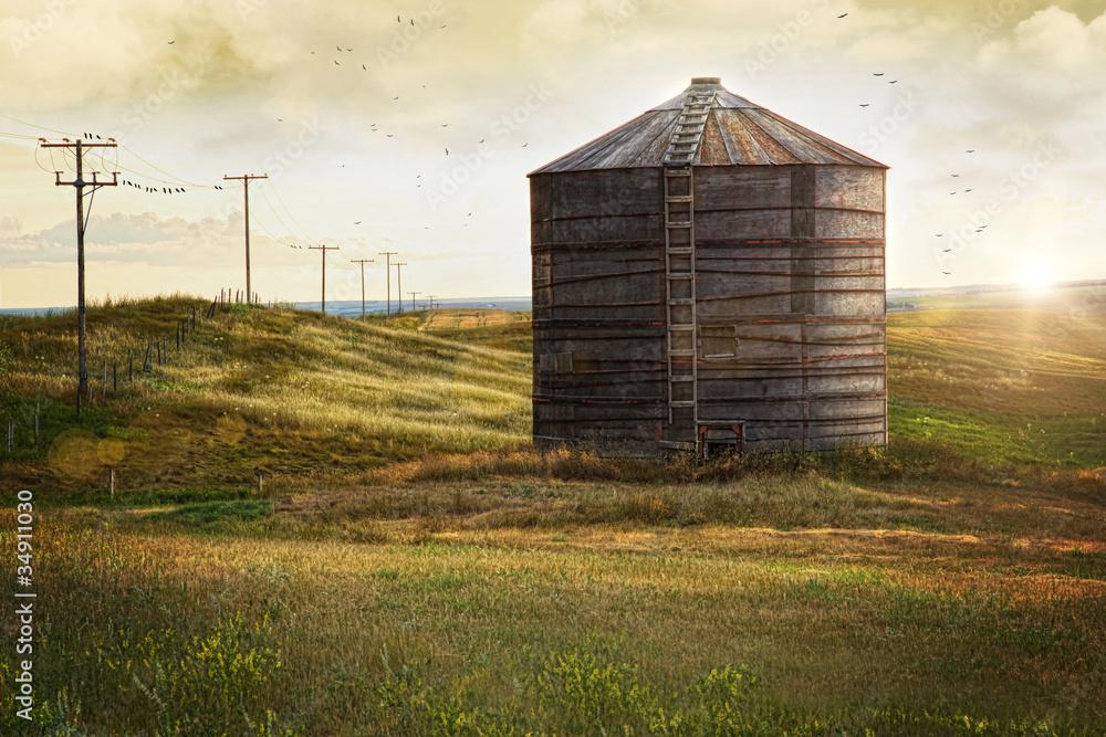Fototapety, obrazy: Abandoned wood grain storage bin in Saskatchewan