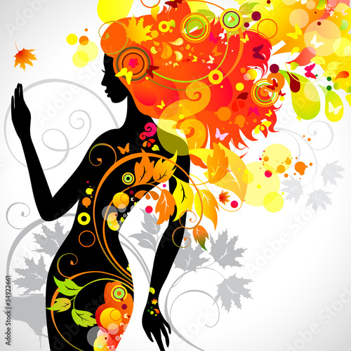 Floral femme decorative composition with girl
