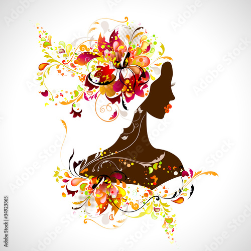 Deurstickers Bloemen vrouw decorative composition with girl