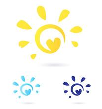 Abstract Vector Sun Icon With Heart -  Yellow & Blue. Vector.