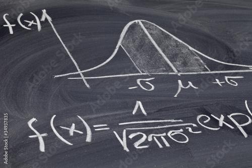 Fototapeta Gaussian or bell curve on a blackboard