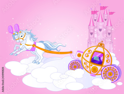 Deurstickers Pony Sky carriage illustration