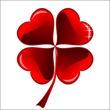 Lucky Red Heart Clover, Isolated On White Background, Clipping P