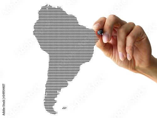 Stickers pour porte Amérique du Sud hand drawing southamerica