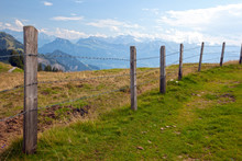 Barbwire Fence In The Swiss Countryside