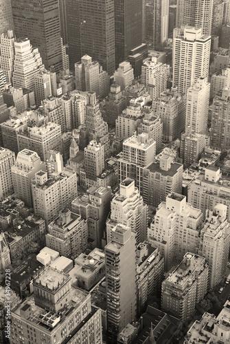 Naklejki retro nowy-jork-manhattan-linii-horyzontu-widok-z-lotu-ptaka-czarny-i-bialy