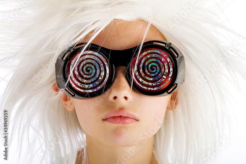 Fototapeta Crazy Glasses on a weird looking kid