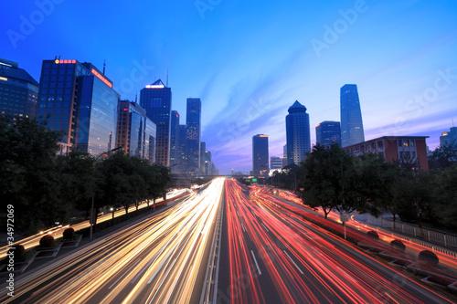 Poster Pekin traffic at dusk
