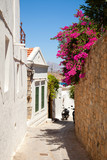 Narrow street in LindosRhodes island, Greece