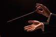 Leinwanddruck Bild - Conductor conducting an orchestra