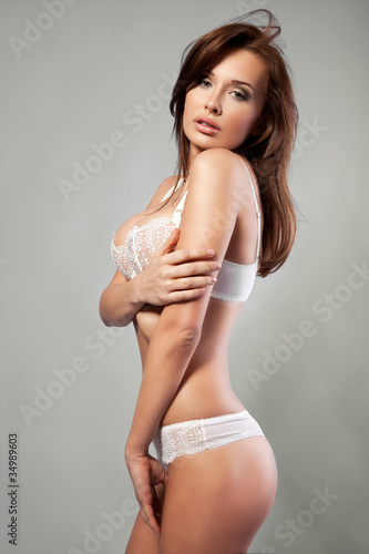 beautiful brunette woman in underwear