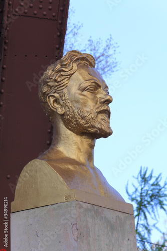 Statue of Gustave Eiffel near Tower, Paris, France Poster