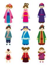 Cartoon Chinese People Icon Set.