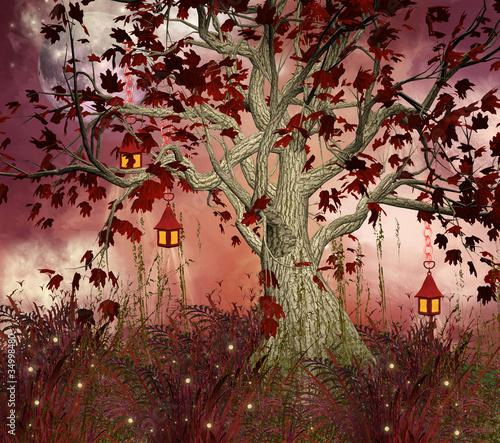 bajkowe-wzgorze-i-drzewo-z-latarniami