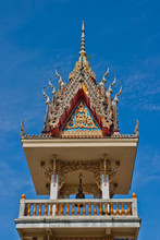 Belfry Temple And Blue Sky, Wat Yai Sawang Arom, Nonthaburi Thai