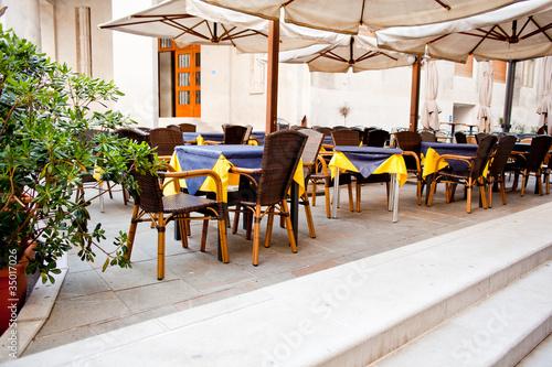 Foto auf AluDibond Gezeichnet Straßenkaffee Outdoor restaurant