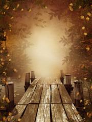 Panel SzklanyJesienny krajobraz z drewnianym molo
