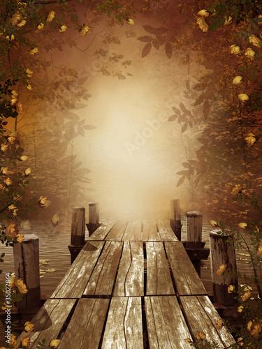 Jesienny krajobraz z drewnianym molo - 35027864