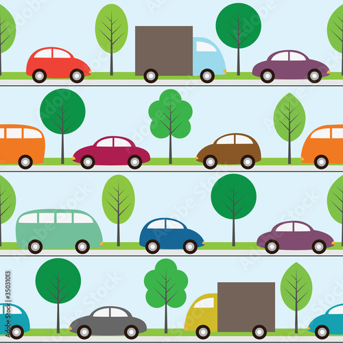 Poster de jardin Route Seamless background with cartoon cars