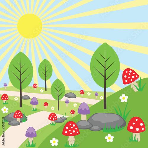 cartoon-jasny-krajobraz-z-grzybami