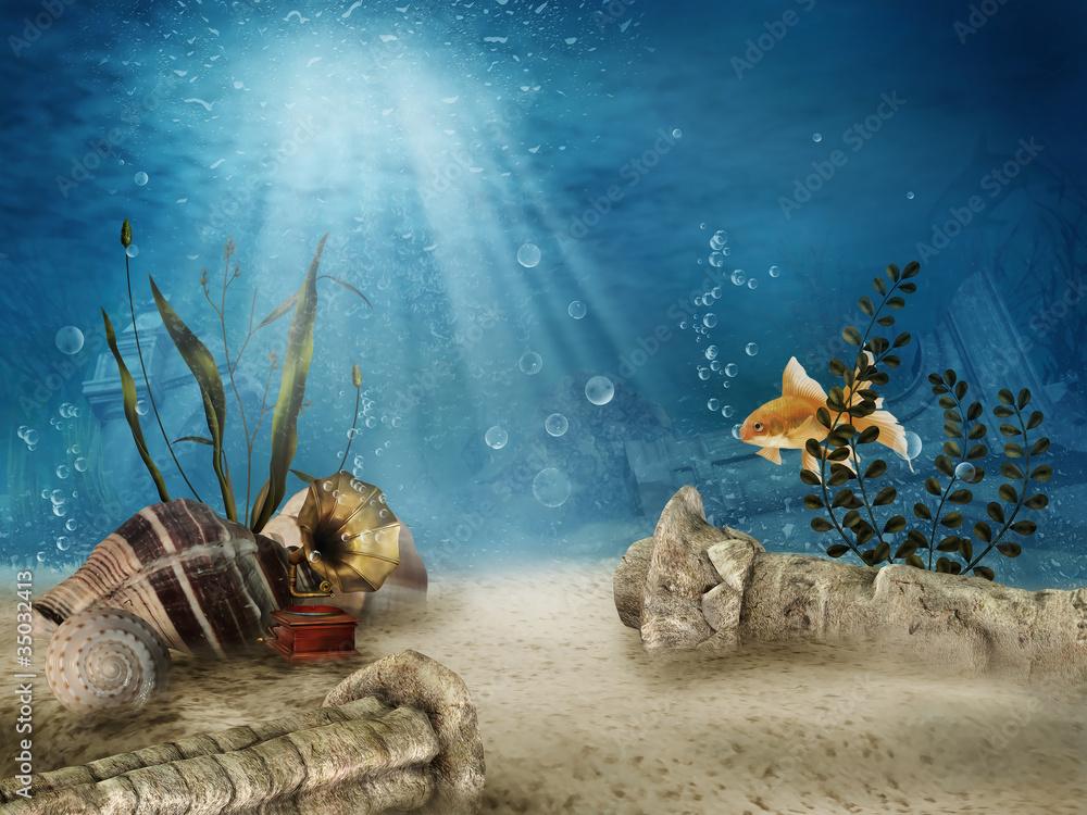 Fototapeta Podwodne ruiny z muszelkami