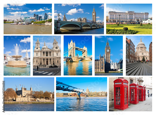 Collage of London landmarks Wallpaper Mural