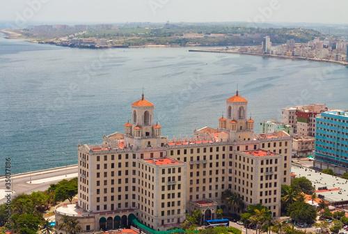Aerial view of  Havana  from El Vedado to the bay entrance Canvas Print