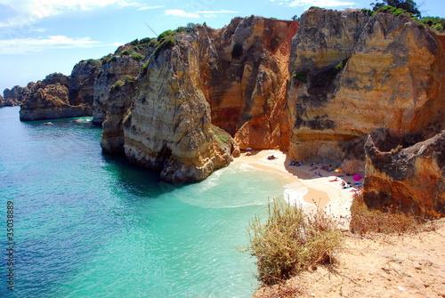 Foto-Leinwand - Cliffs at the Dona Ana beach, Algarve coast in Portugal (von Fernando Batista)