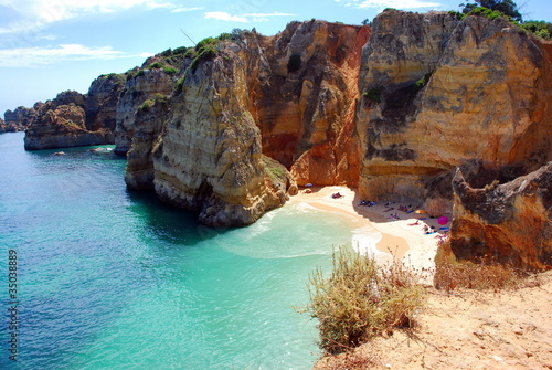 Foto-Leinwand - Cliffs at the Dona Ana beach, Algarve coast in Portugal