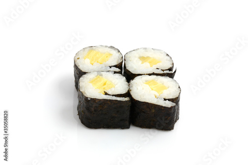 Printed kitchen splashbacks Sushi bar Fresh Maki Rolls isolated in white background