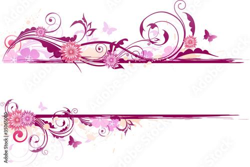 Photo sur Toile Papillons dans Grunge floral banner