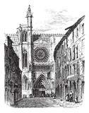 Clermont-Ferrand Cathedral, in Auvergne, France, vintage engravi