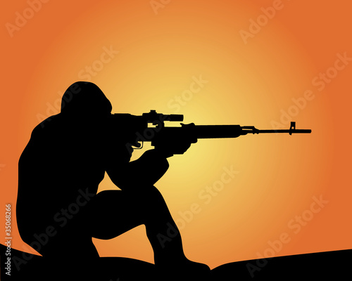 Poster Militaire silhouette of a sniper