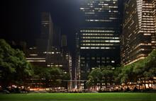 Bryant Park New York City Skyline  Night