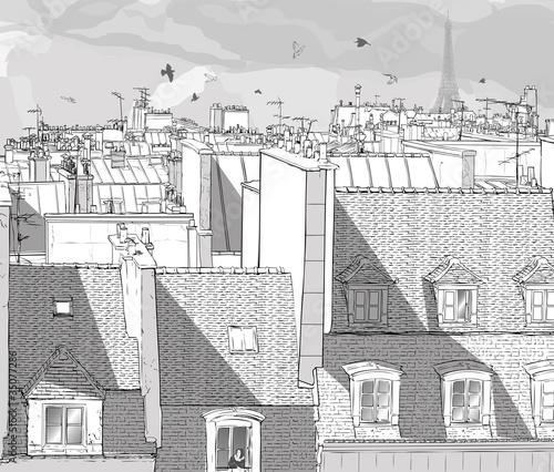 Door stickers Art Studio France - Paris roofs