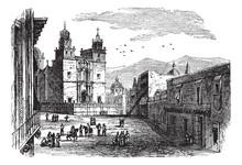 Cathedral At Guanajuato Vintage Engraving