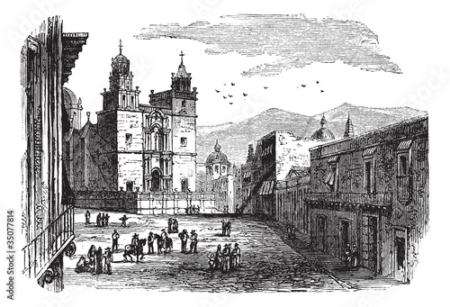Cathedral at Guanajuato vintage engraving