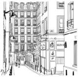 ulica w pobliżu Montmartre w Paryżu - 35084278
