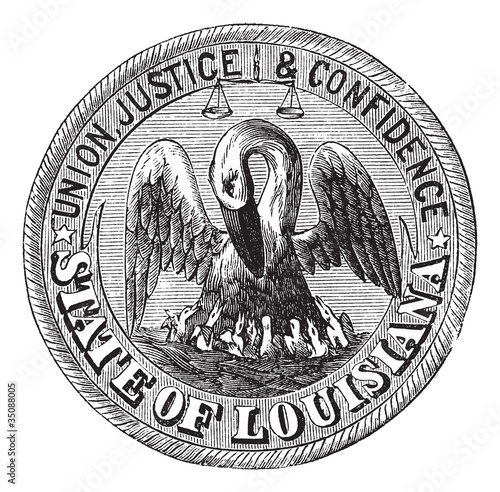Photo  Great Seal of the State of Louisiana USA vintage engraving