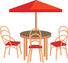 Summer Street Cafe. Vector, White Background