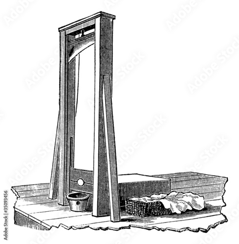 Valokuva  Guillotine isolated on white, vintage engraving