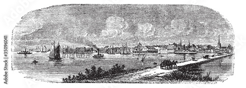 Fototapeta Norfolk in England, UK, vintage engraved illustration obraz na płótnie
