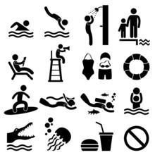 Man People Swimming Pool Sea B...