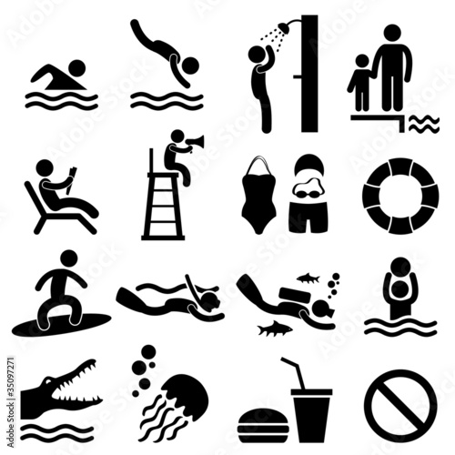 Man People Swimming Pool Sea Beach Sign Symbol Pictogram Icon Canvas Print