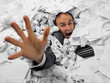 canvas print picture - Businessman sinking in heap of documents