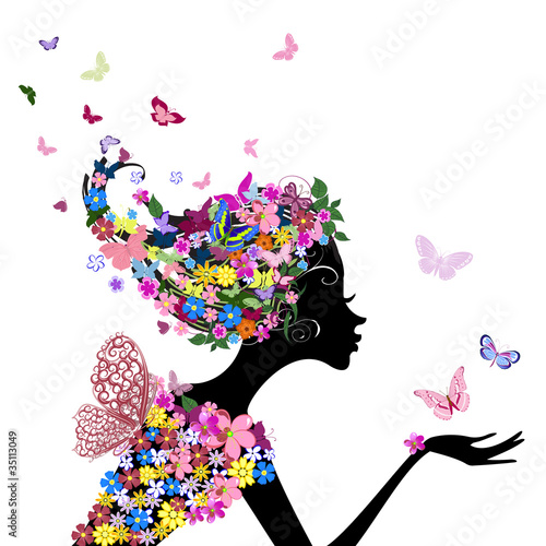 Door stickers Floral woman girl with flowers and butterflies