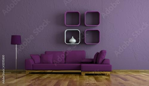 Fotografie, Obraz  Wohndesign - Sofa lila