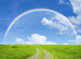 Fototapeta Rainbow - 草原の道と虹