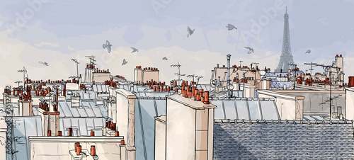 Stickers pour porte Art Studio France - Paris roofs