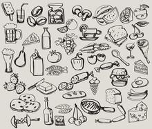 Hand Drawn Set : Kitchen - Food